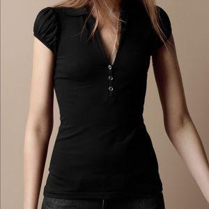 Burberry Brit Black Cotton Puff Sleeve Polo Black